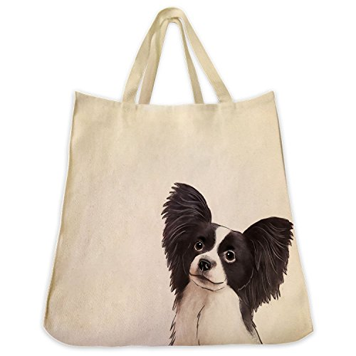 Black and White Papillon Extra Large Eco Friendly Reusable Cotton Twill Grocery Shopping Tote Bag