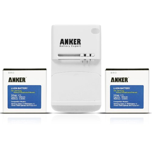 Anker 2 x 1800mAh Li-ion Batteries for Samsung Galaxy S I9000, GT-I9000; Samsung Captivate; Samsung Epic 4G; Samsung Focus; Samsung Vibrant Fits EB575152VA + Free Anker Multi-purpose USB Travel Charger