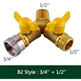 Sellify B2 : Generic 2 Way Garden Hose Splitter Y Ball Valve Connector Outdoor Faucet Sprinkler Drip Irrigation...