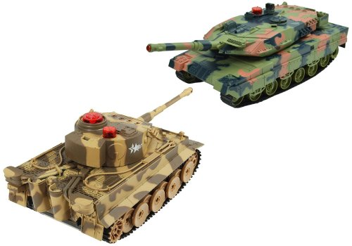 German Tiger vs. USA M1A2 Abrams Battle Tank RC 1/24 Infrared Combat Fighting Tanks with Sound & Life Indicator