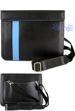 iGg messengerPad Leather Carry Bag For iPad - Blue Line (Fits iPad 1 and iPad 2) (Free HHI Stylus Pen)