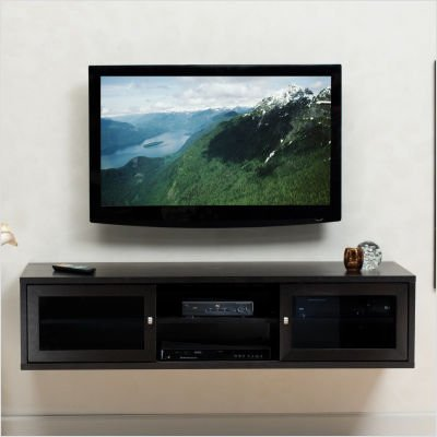 Wall Mounted Tv Cabinet : black wall mounted media console tv stand cabinet entertainment center