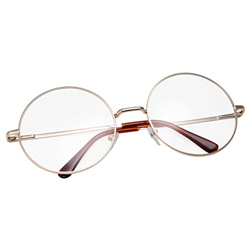 grinderPUNCH - Non-Prescription Round Circle Frame Clear Lens Glasses Medium Gold (Old Glasses compare prices)