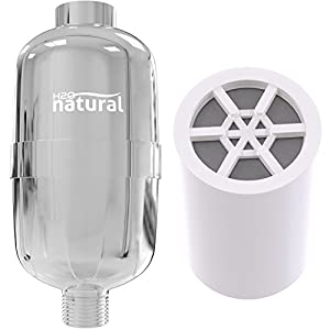 Shower Filter by H2O Natural - High Output Chlorine Removing Showerhead Filtration System and Water Purifier - 3-Stage Replaceable Cartridge with KDF 55, Calcium Sulfite and Activated Carbon - Chrome