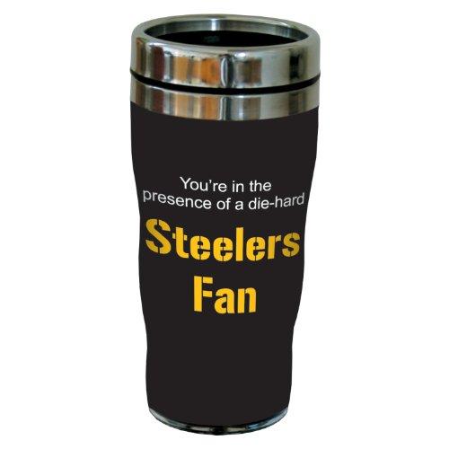 Tree-Free Greetings Sg24132 Steelers Football Fan Sip 'N Go Stainless Steel Lined Travel Tumbler, 16-Ounce