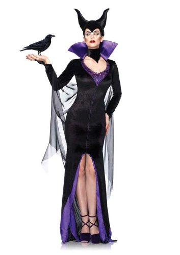Leg Avenue Women's Disney Maleficent Dress with Stand-Up Collar and Head Piece