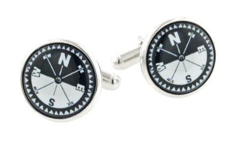 JJ Weston silver plated cufflinks with compass points and horizon with presentation box. Made in the U.S.A