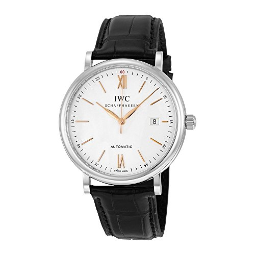 iwc-mens-40mm-alligator-leather-band-steel-case-automatic-silver-tone-dial-analog-watch-iw356517
