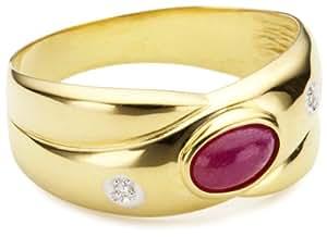 Bella Donna Damen-Ring 8 Karat Gelbgold 2 Diamanten 1 Rubin Gr. 60  103828