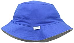 i play. Baby Organic Cotton Reversible Bucket Hat, Royal/Gray, 0-6 Months