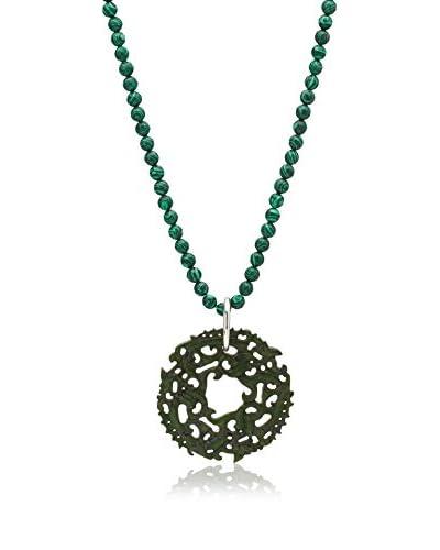 Alexandra Plata Conjunto de collar y colgante Jade