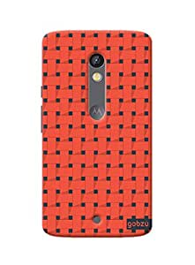 Gobzu Printed Back Covers for Motorola Moto X Play - Check - Orange