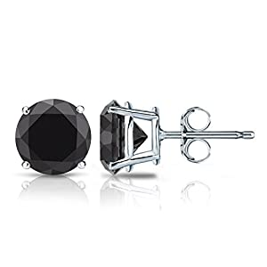 14k White Gold Round Black Diamond Stud Earrings 4-Prong Basket-Push Backs (1 cttw, Black color)