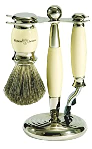 Edwin Jagger Shaving Gift Set - Imitation Ivory Pure Badger Shaving Brush, Gillette Mach 3 Razor and Stand