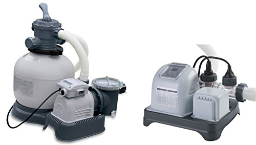Intex 2800 GPH Krystal Clear Sand Filter Pool Pump and Saltwater System
