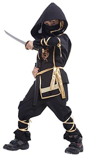 [Chartou Kids Martial Arts Ninja Assassin Halloween Costume (14-16 Year, Black)] (Black Martial Arts Costume)