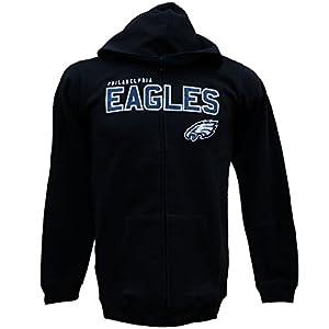 Youth Philadelphia Eagles Black NFL Stated Full Zip Hoodie Sweatshirt