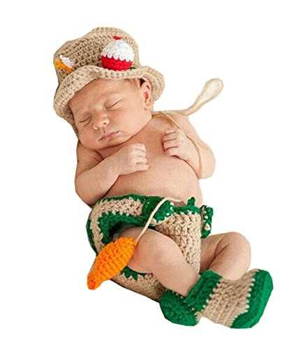 Pinbo Baby Photography Prop Crochet Fishing Fisherman & Fish Hat Diaper Shoes