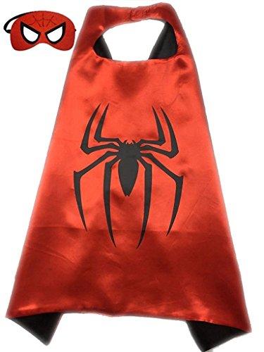 ReachMe Superhero Dress Up Costumes Cape Mask Set Halloween Costume Party Cloak(Spiderman)