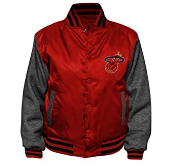 Majestic Mens Miami Heat Hook Button Satin Jacket by Majestic