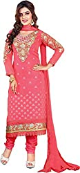 Cool women's Georgette Embroderied Unstitched Dress Material -1023_Red_Freesize