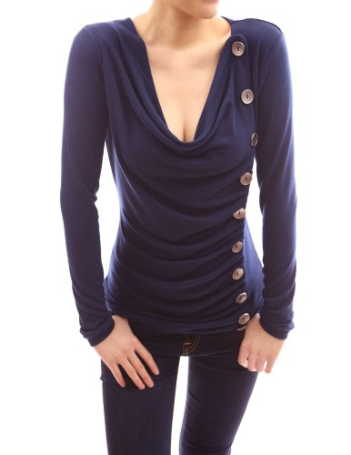 Patty Women Cowl Neck Button Embellished Ruched Blouse Top (Blue S)