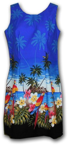 Hawaiian Sun Dresses Beach Parrot Dress Blue XL