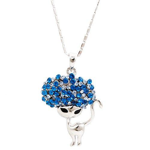 2013 New Bule Swarovski Element Crystal Cat Design Necklace for Women Gift