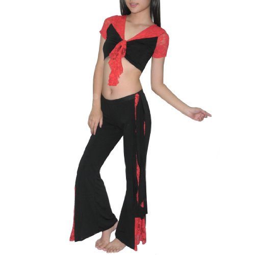 2Pcs:Ladies Exotic Belly Dance Sheer Cropped Top & Pant