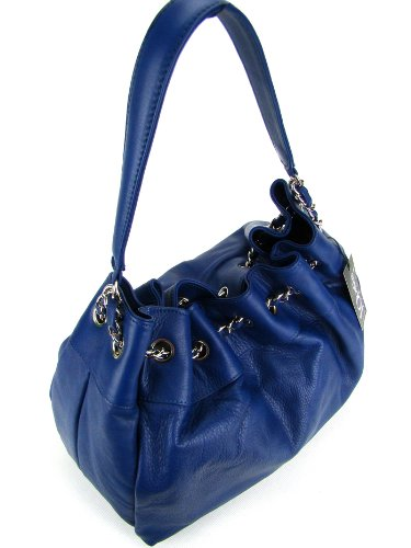 IO Pelle Italian Navy Blue Leather Drawstring Hobo Shoulder Bag Purse