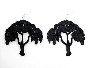 Black Satin Tree of Life Wooden Earrings