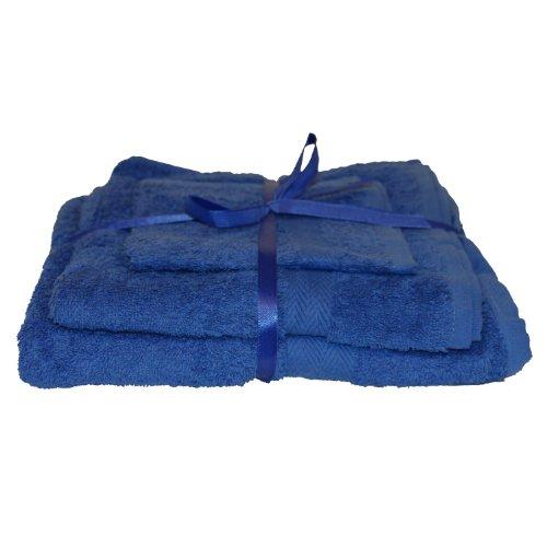 Towel Gift Set, 3pcs, Ribbon Tied, 100% Cotton, Blue