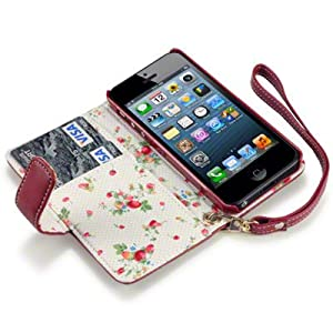 iPhone 5 Premium PU Leather Wallet Case / Cover / Pouch / Holster With Floral Interior - Red
