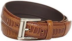 Stacy Adams Men's 32mm Ostrich Leg Embossed Genuine Leather Belt, Cognac, 56