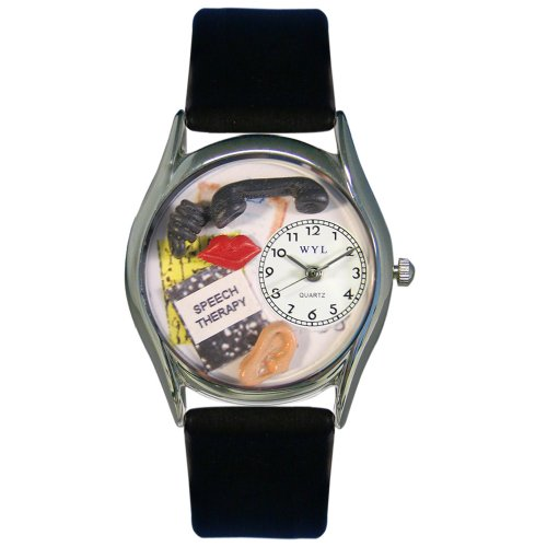 Whimsical Watches Women's S0610020 Speech Therapist Black Leather Watch