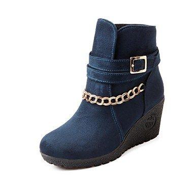 Keilabsatz - Beflockung - FRAUEN - Booties / Stiefeletten - Fashion Boots/Runde Zehe/Keile - Stiefel ( Lila/Blau/Schwarz )