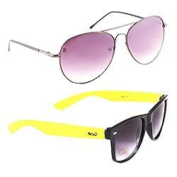 Elligator Stylish Spartiate Purple And Yellow Wayfarer Sunglasses Combo ( Set of 2 )