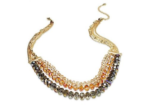 """C.A.K.E. By Ali Khan Necklace, 20"""" Gold-Tone Rosse Glass Bead Cluster Frontal Necklace"""