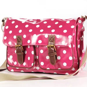 Hot pink Designer Oilcloth Polka dots Cross Body Saddle Bag Satchel Shoulder Messenger