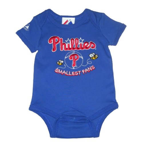 Majestic Philadelphia Phillies MLB Baby / Infant One-Piece Bodysuit / Romper / Onesie - Blue (Size: 6-9) at Amazon.com