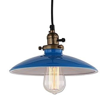 JEMMY HO Metal Pendant Light Dia 10 Inches Mini Vintage Industrial Barn Pendant Lamp (Blue)