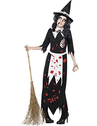 Smiffy's Women's Zombie Authentic Salem Witch Costume with Dress and Hat