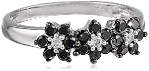 10k White Gold Black and White Diamond Ring (1/2 cttw), Size 5