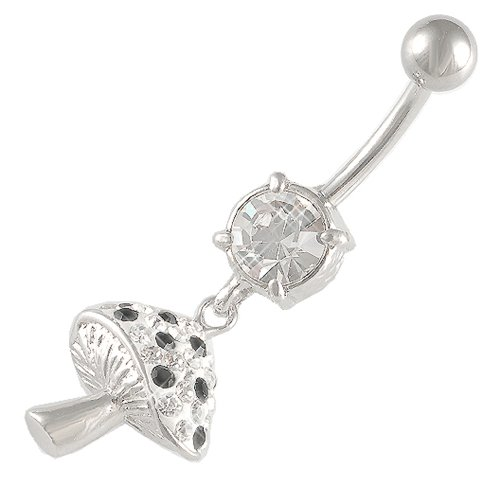 14 Gauge 1.6mm 3/8 10mm Mushrooms Jet Crystal Ferido belly navel button ring dangling bar AKRK Jewellery Body Piercing