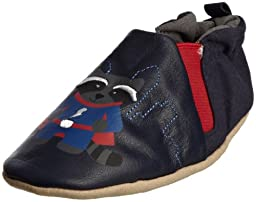 Robeez Soft Soles Crib Shoes- Good Guy Bad Bear Gryna- Reversible- 2 Styles in 1 (0-6 Months)