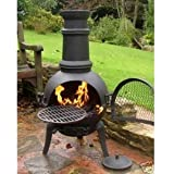 (free cover) Oxford Leisure Black Cast Iron/Steel Mix Chiminea Chimenea 85cm High with Swing Out Grill