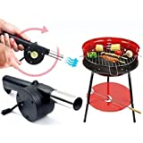 Outdoor Cooking BBQ Hand Crank Powered Barbecue Fan Air Blower Starter (Black)