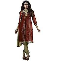 Typify Women's Chanderi Unstitched Dress Material (TYPIFY211_Multicolor_Free Size)