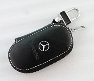 Black genuine leather mercedes benz logo auto key case for Mercedes benz key holder