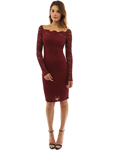 PattyBoutik Womenâ€s Off Shoulder Twin Set Floral Lace Dress (Burgundy XL)